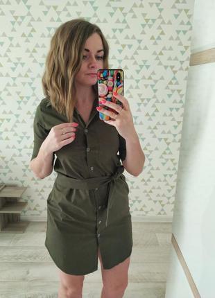 Платье рубашка хаки 42 р