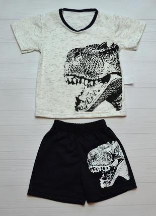 Детский летний костюм комплект на мальчика динозавр футболочка и шорты 2-6 лет
