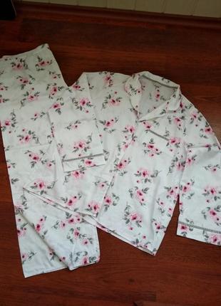46-48р. роскошная пижама в розы, хлопок m&s