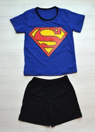 Детский летний костюм комплект на мальчика супер 2-6 лет футболочка и шорты