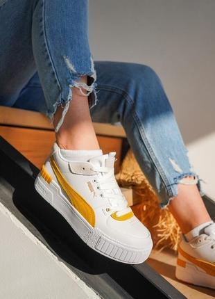 Новинка женские кроссовки кеды puma cali sport на платформе кожаные
