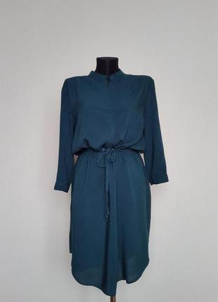 Изумрудное платье рубашка из натуральной ткани