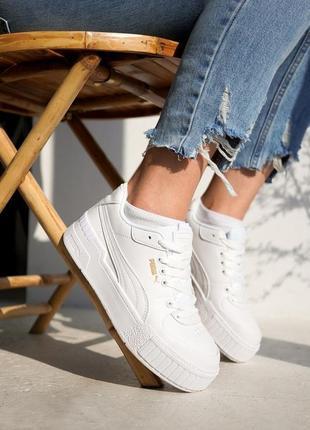 Белые кожаные кроссовки кеды puma cali sport на платформе