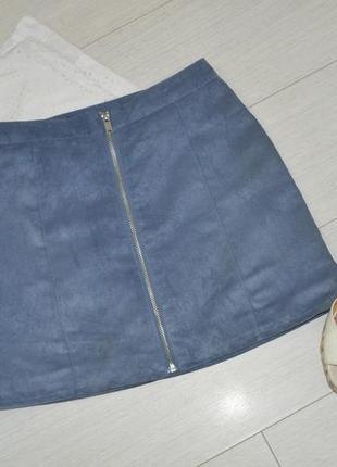 Крутая юбка h&m под замшу с молнией, высокая посадка