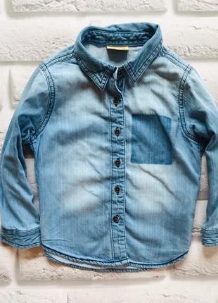 I love next стильная джинсовая рубашка на девочку 3 года