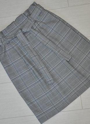 Трендовая юбка в клетку с поясом, высокая посадка