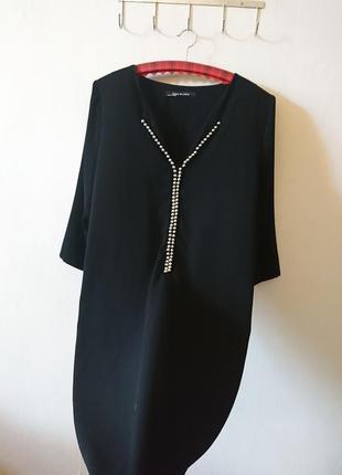 Шикарное 🖤 черное прямое платье с декором 🔸бренд ema blue's