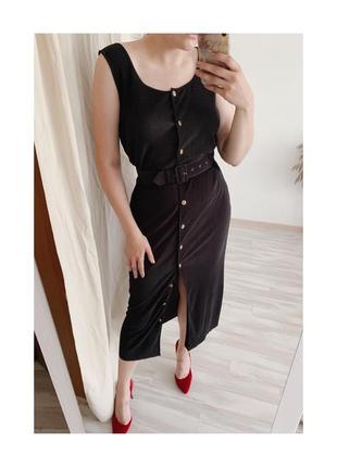 Винтажное черное миди платье с поясом