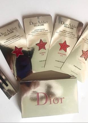 Набор тестеров-помад dior addi t stellar shine   кисточка