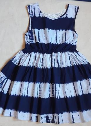 """Нарядное батистовое платье бело синее с кружевом """"havoc"""" франция на 9-10лет"""