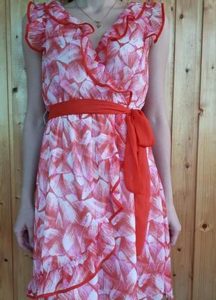 Платье красное белое на запах h&m