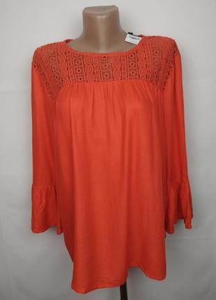 Блуза новая шикарная с натуральная с кружевной кокеткой dorothy perkins uk 12/40/m