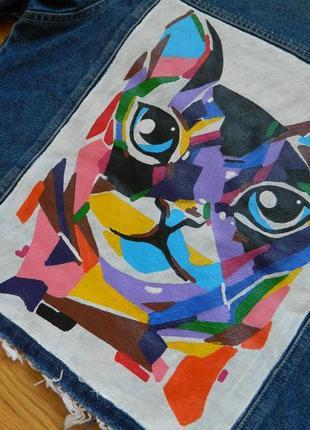 Джинсовая куртка ручная роспись кот cat hand made long island