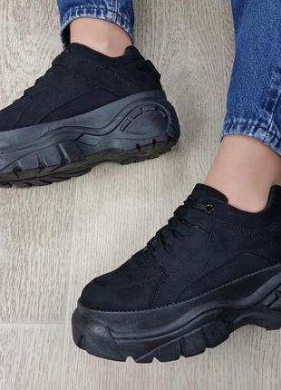 Sale🔥🔥🔥кроссовки замшевые черные на высокой платформе буффало
