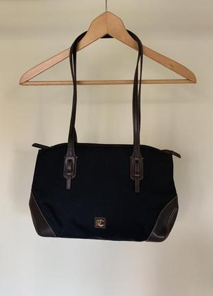 Текстильная сумка с кожаной фурнитурой roberto capucci италия!