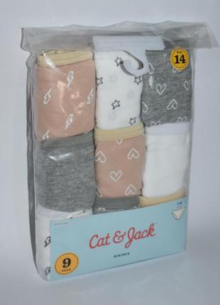 Набор трусиков коттон bikini 9 pack cat&jack размер 14 xs-s basic neutral оригинал сша