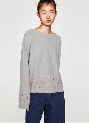 Zara trafaluc стильный мягкий свитер в жемчужинах оверсайз