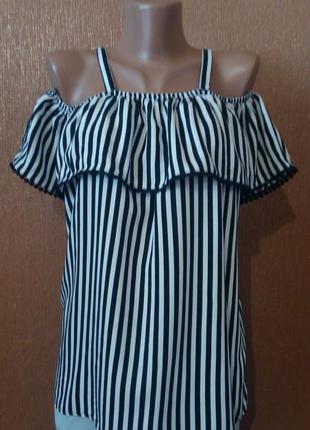 Блузка на бретельках в полоску с открытыми плечами оборкой размер 10-12 tu
