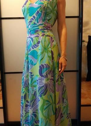 Нарядное цветочное длинное платье сарафан в пол макси в цветочный принт