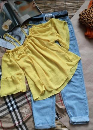 Жёлтая блуза на бретельках +🎁зелёная блуза
