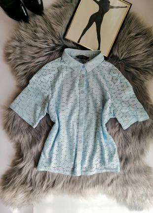 Голубая блуза короткий топик с рукавами ажурный new look кроп топ модный