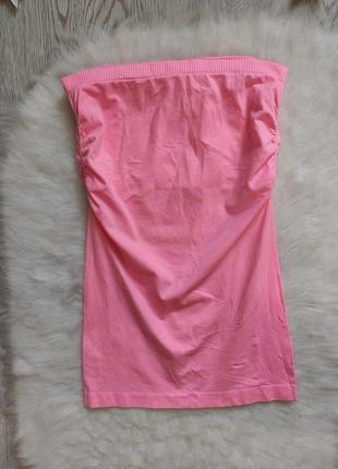 Розовая майка бандо стрейч резинка спортивная без бретелей с топом внутри