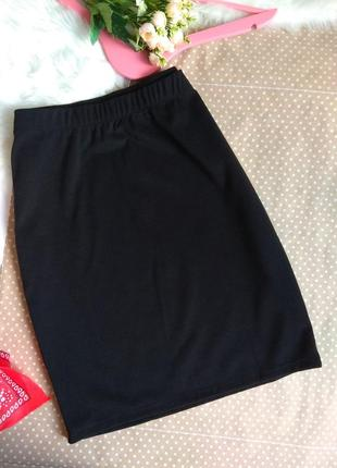 Юбка прямая до колен / трикотаж/ черный цвет. спідниця чорний колір