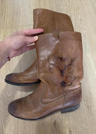 Кожа сапоги шкіряні чобітки