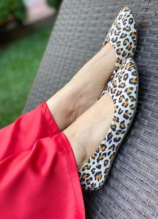 Балетки,туфли с леопардовым принтом