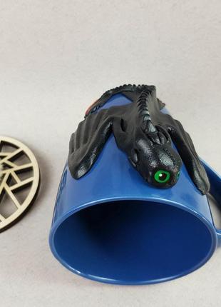 Цветная кружка с декором чашка с драконом беззубик из полимерной глины