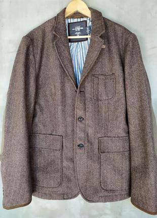 Пиджак твидовый l.o.g.g. ( h&m ). 60% шерсть.