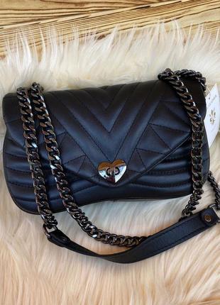 Итальянская сумка женская кожаная кросс боди через на плечо черная vera pelle