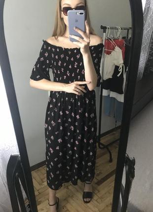 Миди платье с открытыми плечами dorothy perkins