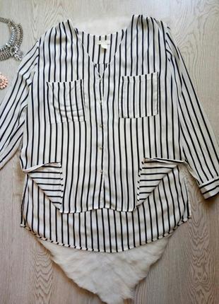 Длинная белая рубашка блуза туника в черную полоску с карманами пуговицами вырез шифон