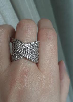 Широкое серебряное кольцо партенит 19.5размер