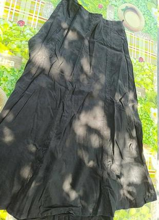 Черная юбка лен котон
