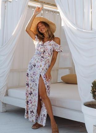 Платье на запах длинное с принтом «бабочки и цветы»