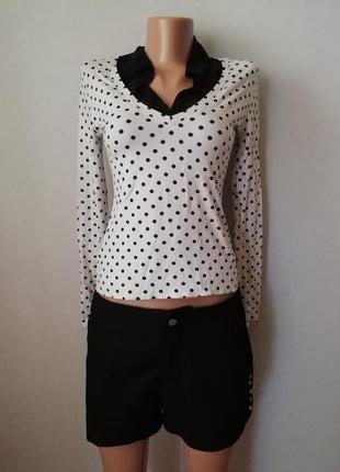 Блуза в горошек белая