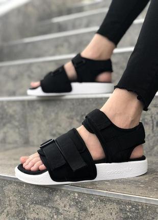 Женские босоножки adidas adilette sandal black ◈ сандалии ◈ черного цвета 😍