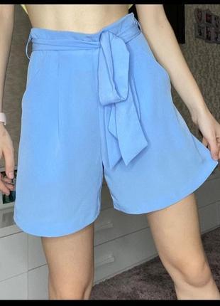 Легкие голубые шортики,шорты, тканевые шорты с пояском
