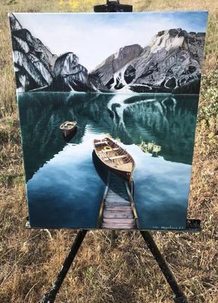 Картина альпы озеро горы