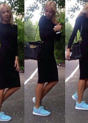 Платье классика, длина миди,светло серый меланж, черный, темно синий и красный. хс-хл