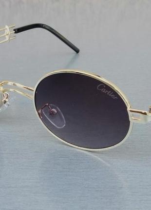 Очки женские солнцезащитные брендовые в стиле cartier стильные серые в золоте