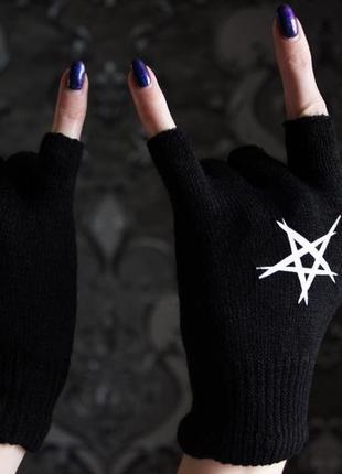 Перчатки с пентаграммой, готические перчатки, gothic, dark, рок