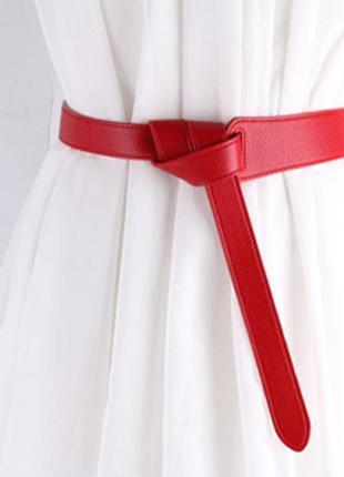 Ремень ремінь пояс длинный ассиметричный красный на талию длинный качественный эко кожаный
