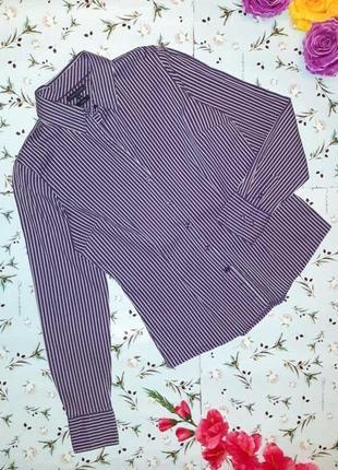 🎁1+1=3 приталенная фиолетовая рубашка блуза tommy hilfiger в полоску, размер 42 - 44