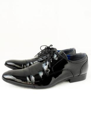 Стильные фирменные классические лаковые туфли malvern. размер uk10/ eur44.