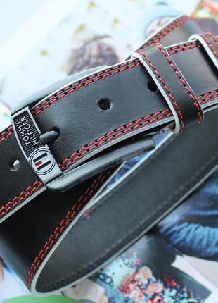 Мужской кожаный ремень со строчкой