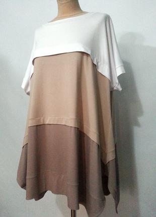 Новая блуза туника из трикотажа 100% вискоза оверсайз большой размер бохо стиль.
