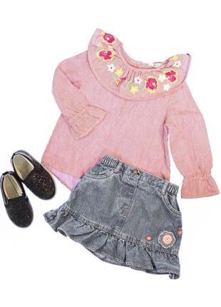 Юбка джинсова і блуза.